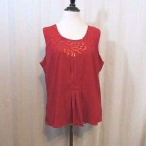 Coldwater Creek Red Sequins Sleeveless Top M